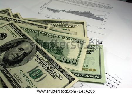 cash, charts - stock photo