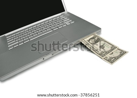 Cash coming out of a laptop. Make money with your computer online or the web.