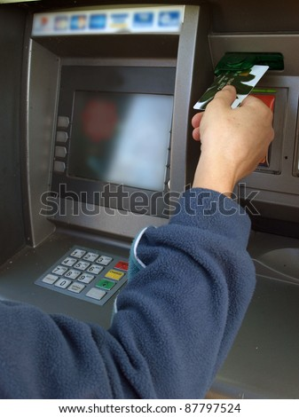 Cash dispenser or ATM, input credit card