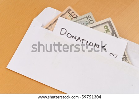 Cash Donations in Envelope