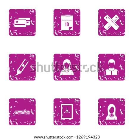 Cash economize icons set. Grunge set of 9 cash economize icons for web isolated on white background