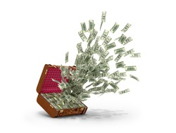Cash explosion. Dollars that are emitted from a leather suitcase on a white background. 3D illustration