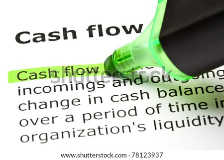 Cash flow highlighted with green marker.
