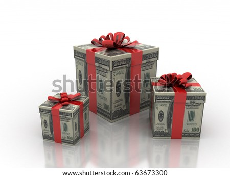cash gifts isolated on a white background