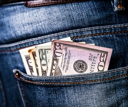 cash in your pocket. money in dollars