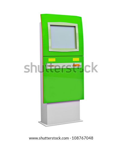 Cash machine green isolated on white background 3d