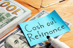 Cash out refinance is shown on the business photo using the text