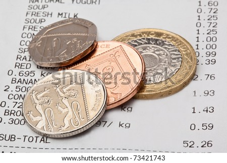 Cash receipt with coin change