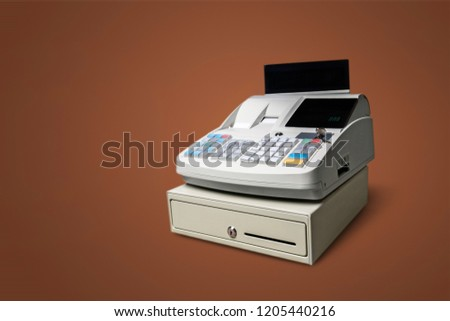 Cash register with LCD display on background #1205440216