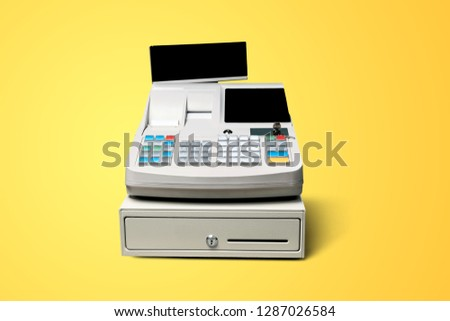 Cash register with LCD display on background #1287026584