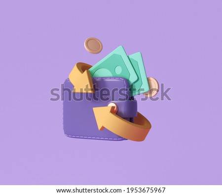 Cashback and money refund icon concept. Wallet, dollar bill and coin stack, online payment on pink background. 3d render illustration
