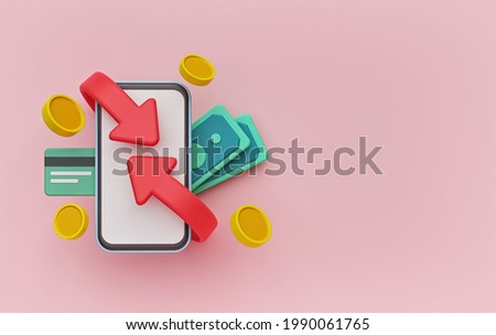 Cashback and refund concept with smartphone, credit card, coins, money bills. copy space. 3d rendering Foto stock ©
