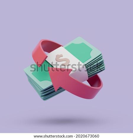 Cashback icon on purple background. Money-saving, cashless. Simple 3d render illustration.