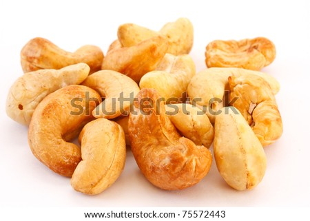 Cashew is isolated on a white background