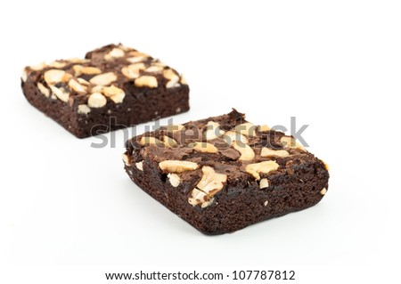cashew nut brownie isolated on white background