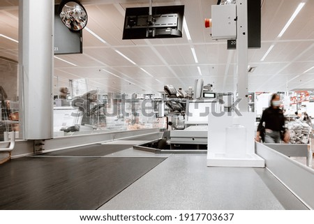 Cashier Counter in Convenience Shopping Mall, Checkout Station for Superstore Customer Service. Cashiers Center for Billing and Payout of Supermarket Store  Stock photo ©
