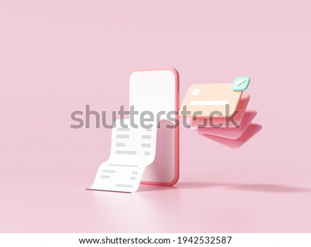Cashless society, credit card and smartphone with a transaction on pink background. money-saving, online payment concept. 3d render illustration