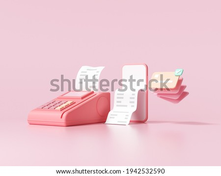 Cashless society, credit card, pos terminal and phone on pink background. money-saving, online payment concept. 3d render illustration