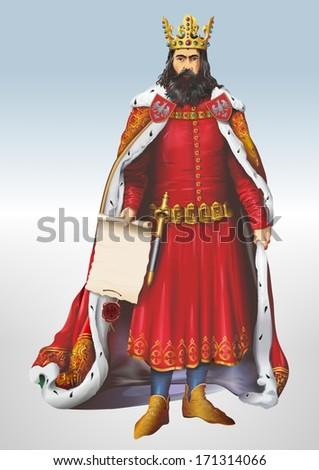 Casimir The Great Polish King Art Illustration.