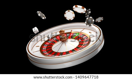 Casino background. Luxury Casino roulette wheel isolated on black background. Casino theme. Close-up white casino roulette with a ball, chips and dice. Poker game table. 3d rendering illustration