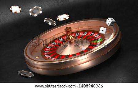Casino background. Luxury Casino roulette wheel on black background. Casino theme. Close-up golden casino roulette with a ball, chips and dice. Poker game table. 3d rendering illustration
