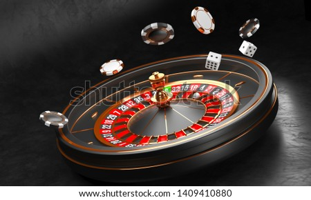 Casino background. Luxury Casino roulette wheel on black background. Casino theme. Close-up white casino roulette with a ball, chips and dice. Poker game table. 3d rendering illustration