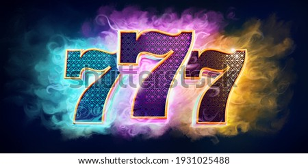 Casino background with bright colors with 3d numbers 777 on dark background. '3D rendering' Stockfoto ©
