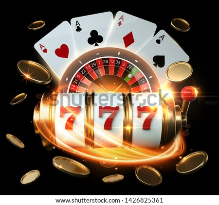 Casino Banner, Gambling Concept, Slot Machine, Roulette Wheel And Four Aces With Golden Coins - 3D Illustration