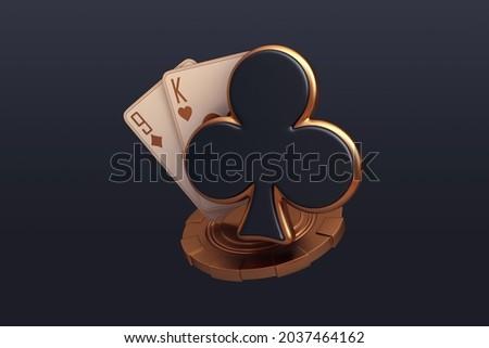 casino cards poker balckjack baccarat and chips gold  3d render 3d rendering illustration