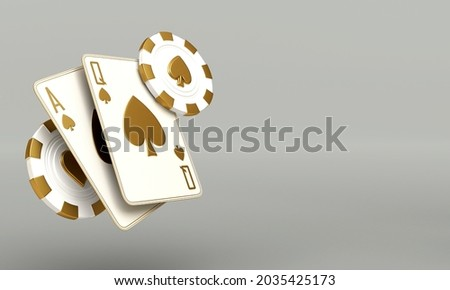 casino cards poker balckjack baccarat and chips gold white 3d render 3d rendering illustration