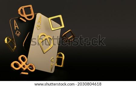 casino cards poker balckjack baccarat 3d render 3d rendering illustration