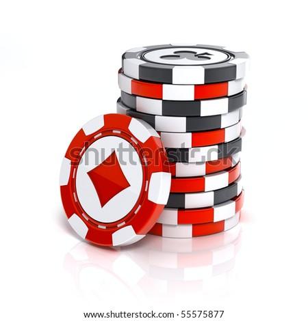Casino chip stacks over white background