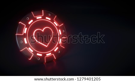 Casino Chip with glowing neon red lights and hearts symbol isolated on the black background - 3D Illustration