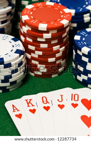 Casino chips and ace king suiets