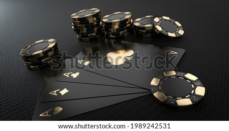 Casino Chips And Aces, Modern Black And Golden Isolated On The Black Background - 3D Illustration Сток-фото ©