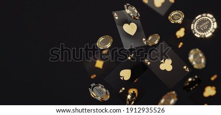 Casino chips and cards on black background. Casino game golden 3D chips. Online casino background banner or casino logo. Black and gold chips. Gambling concept, poker mobile app icon. 3D rendering