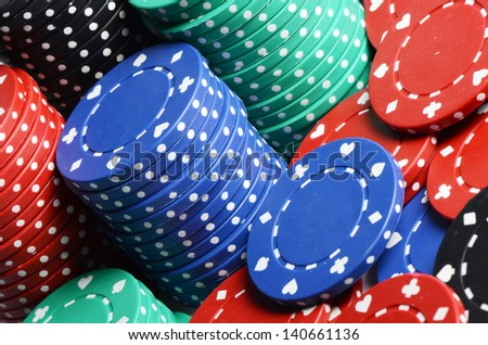 Casino chips as a background close up