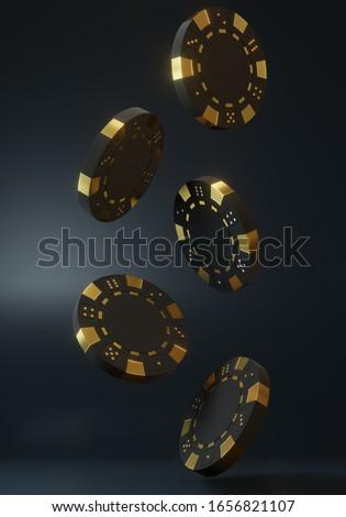 Casino chips falling on the black background. Casino game 3D chips. Online casino banner. Black chip. Gambling concept. 3D rendering illustration