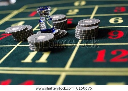 casino; chips; games; table; macro - stock photo