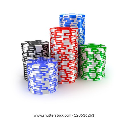 Casino chips in piles