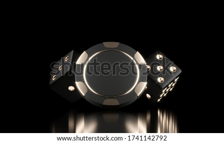 Casino chips on black. Casino game 3D chips and dice. Online casino background banner or casino logo. Black and gold chips. Gambling concept, poker mobile app icon. 3D rendering