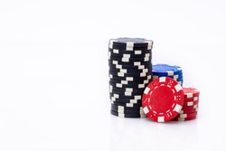 Casino chips on white background isolated