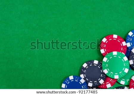 Casino chips. Photo of attributes gambling