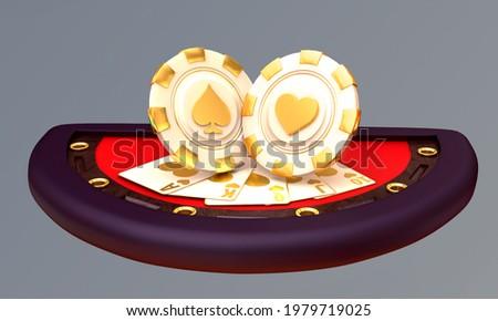casino. crabs slot 777 poker blackjack baccarat table chips 3d render 3d rendering illustration Zdjęcia stock ©