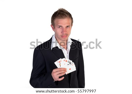 Casino dealer showing his cards