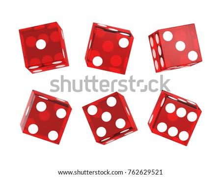 Casino dice isolated on white. Set. 3D illustration