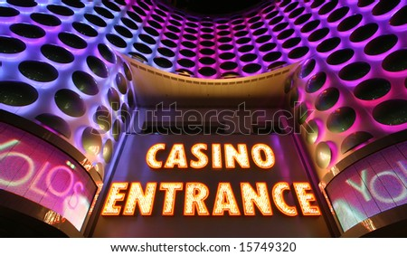 Casino entrance sign at the Las Vegas Strip - stock photo