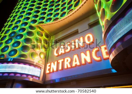Casino entrance with big neon red letters