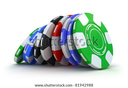Casino gambling chips. Isolated on white