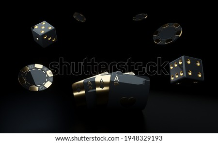 Casino Gambling Concept. Golden And Black Aces Chips And Dices - 3D Illustration Сток-фото ©